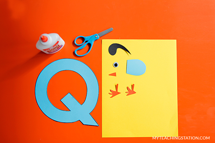 Letter Q Craft Materials for Making an Quail