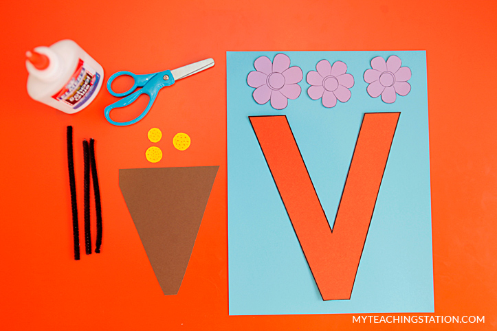 Letter V Craft Materials for Making an Vase