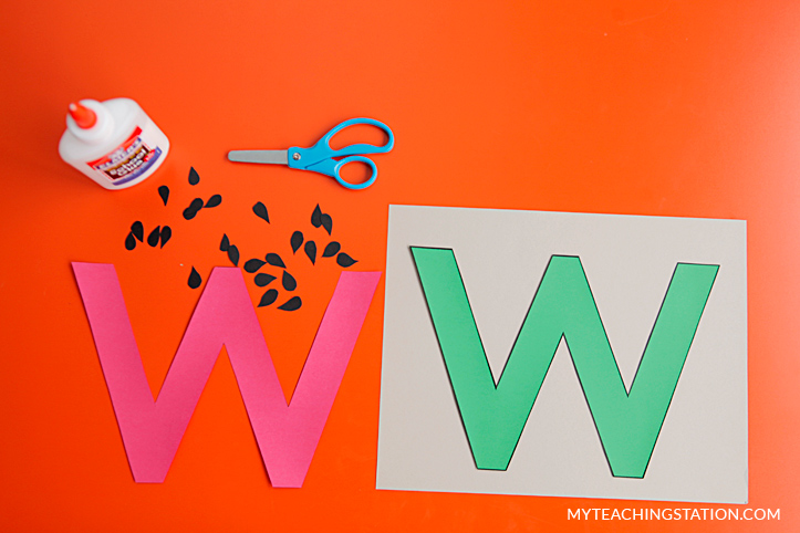 Letter W Craft Materials for Making an Watermelon