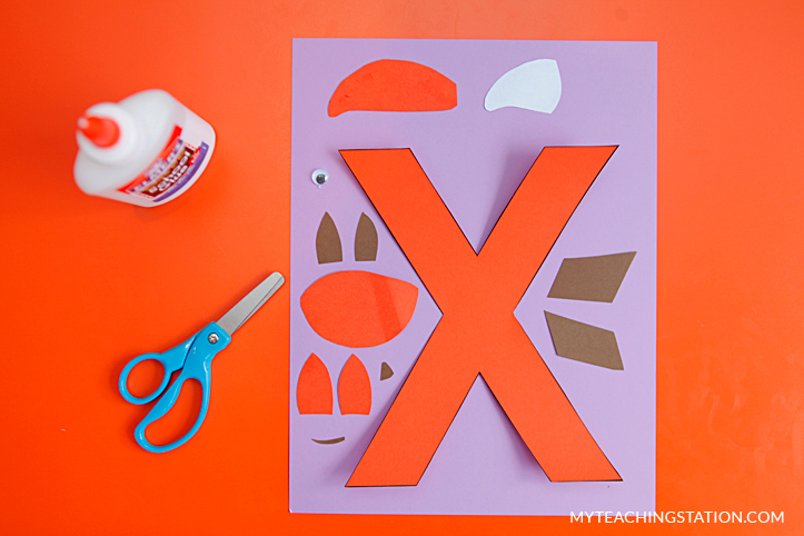 Letter X Craft Materials for Making an Fox