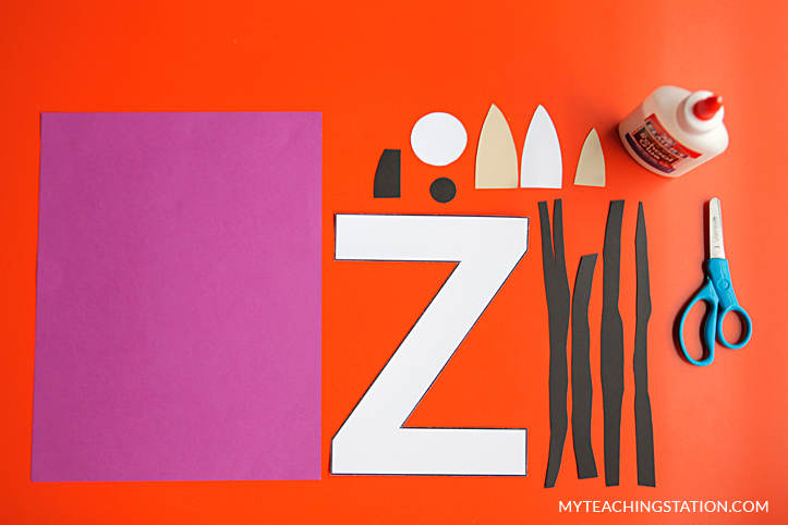 Letter Z Craft Materials for Making an Zebra