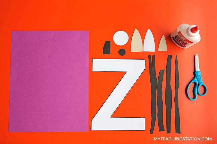 Letter Z Craft Materials for Making an Zebra