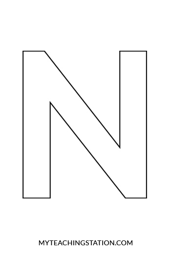 Uppercase Letter N Template