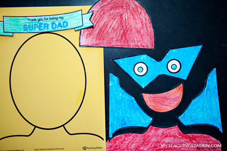 Fathers Day card template colored with crayons.