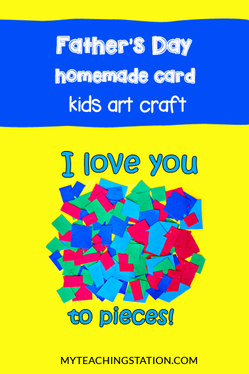 Dad I Love You to Pieces Printable Page Kids Craft.