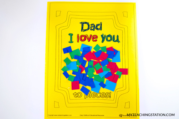 Glue pieces of paper onto the card.