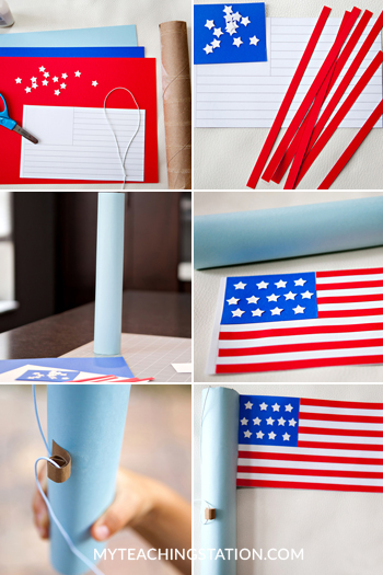 Create United States flag using recycled material for kids art project.