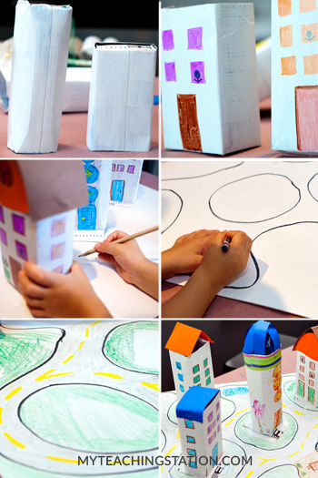 Build a City with Roads using Recycled Milk Cartons and a cardboard