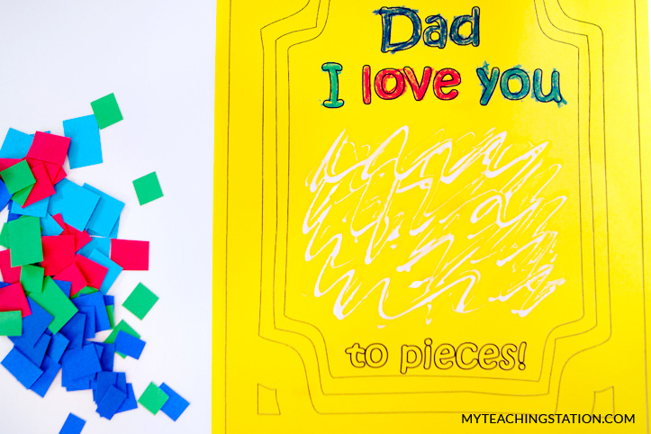 Creating the card: Dad I Love You to Pieces