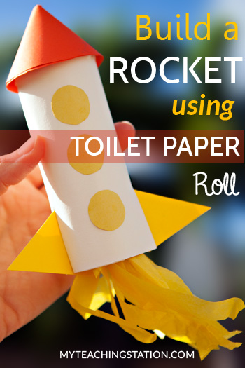 Make a rocket with a toilet paper roll and colored paper.  This rocket may not get launched into outer space but this art project will sure be a hit with the kids.