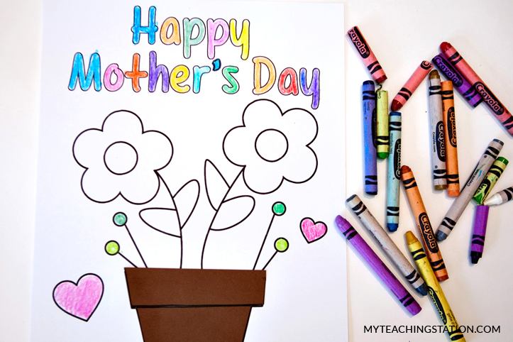 Color the mother's day card.
