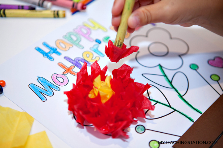 Create the mother's day flower card.