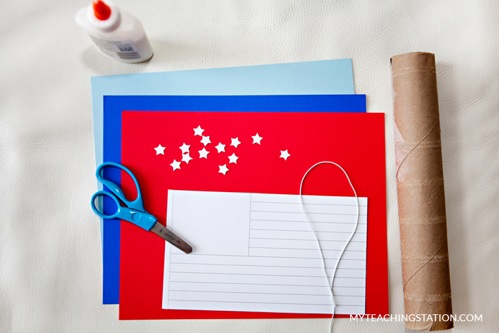 Material for creating patriotic kids art craft.