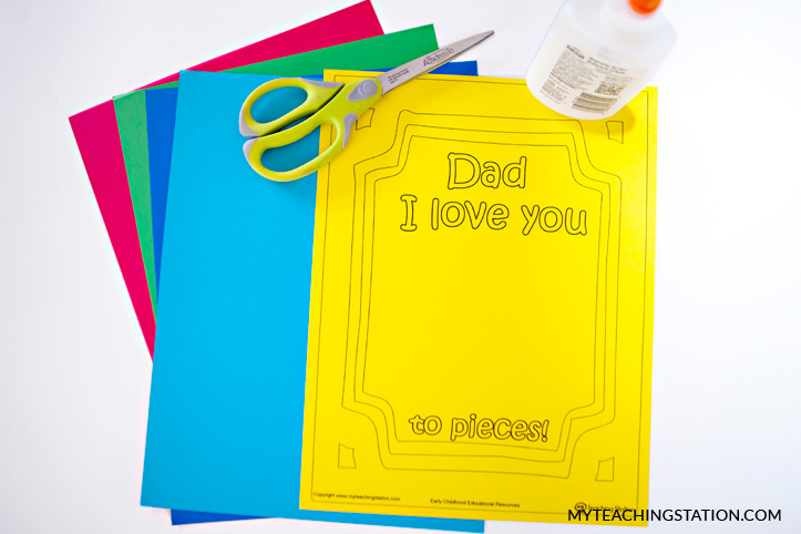 Materials for creating I Love You to Pieces Card.