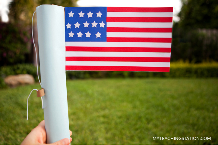 U.S flag - patriotic kids art craft for Memrial Day.