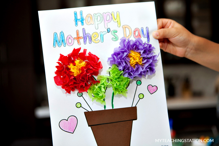 Mother's day handmade card. Kids craft activity.