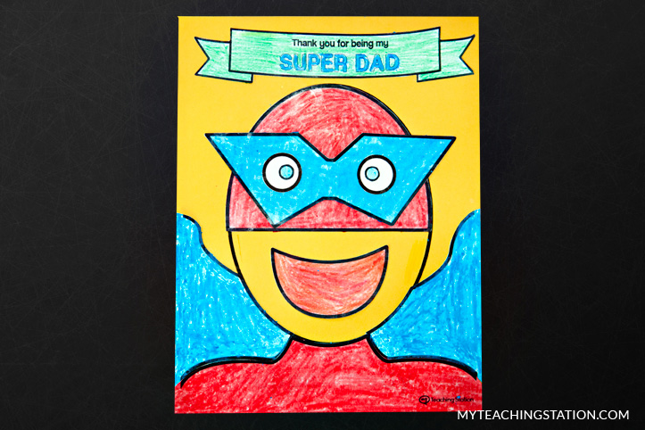 Father's Day super hero homemade card.