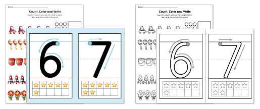 Worksheets in Color and Black-and-White