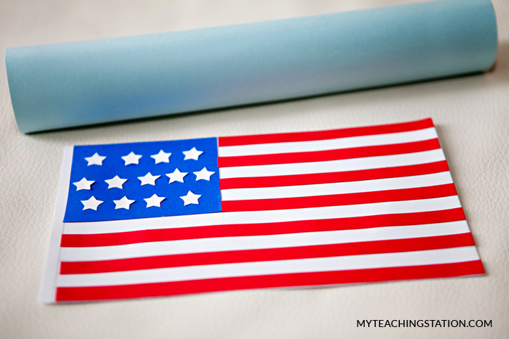 Place the U.S. flag cut outs onto the template to make kids art craft.