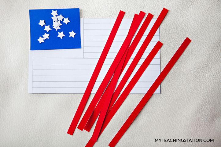 U.S. flag red strips, blue rectangle and white stars cut outs for kids art craft.