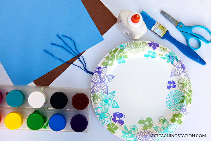 Paper plate umbrella activity supplies & Create Paper Plate Umbrella Art Project on a Rainy Day ...