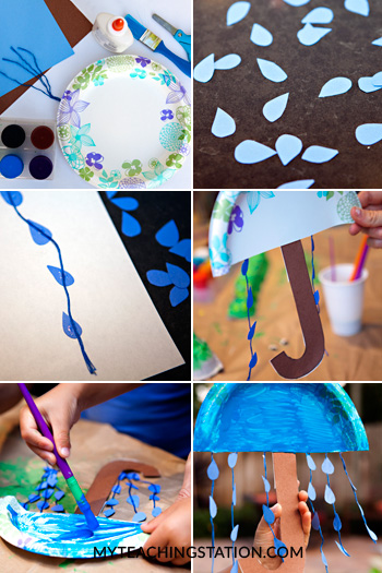 How to create an umbrella using paper plate for a kids art project