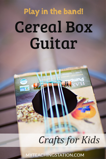 Learn how to make a simple and easy cardboard guitar using a cereal box and rubber bands in this craft for kids.