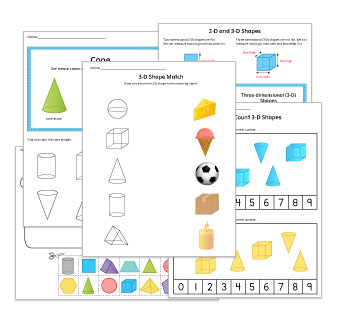3D Shapes Kindergarten Worksheets