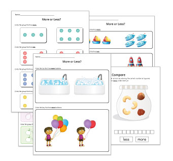 More or Less Preschool Worksheets