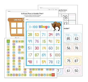 Number Recognition Up to 100 Worksheets and Activities
