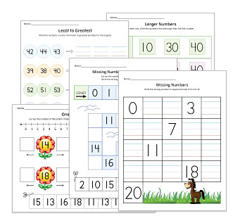 Number Sequence Worksheets and Activities