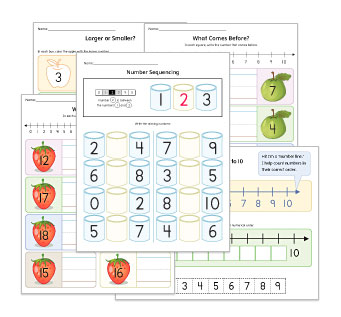 Before, After & Between Numbers Worksheets
