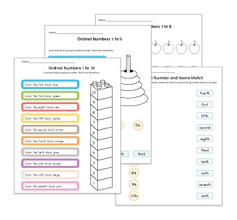 Ordinal Numbers Worksheets and Activities