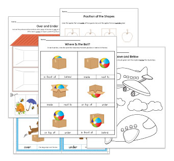 Relative Position Worksheets and Activities