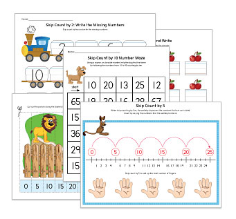 Skip Counting by 2s, 5s, 10s Worksheets