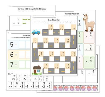 Vertical Addition Kindergarten Worksheets