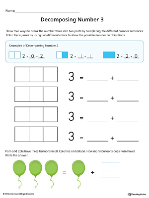 Decomposing Number 3 Worksheet (Color) | MyTeachingStation.com