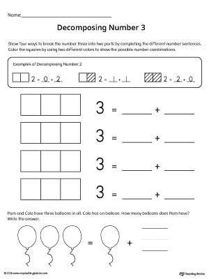 Decomposing Number 3 Worksheet | MyTeachingStation.com