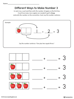 Different Ways to Make Number 3 Printable Worksheet in Color