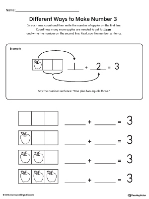 different ways to make number 3 printable worksheet. Black Bedroom Furniture Sets. Home Design Ideas