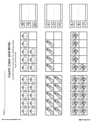 Ten Frame: Count, Color and Write the Number Printable Worksheet