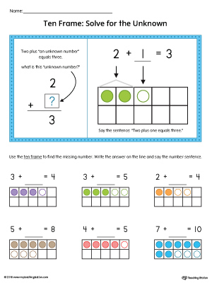 Ten Frame: Solve for the Unknown Worksheet in Color