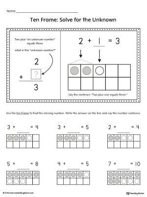 Ten Frame: Solve for the Unknown Printable Worksheet