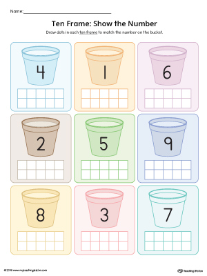 ten frame show the number worksheet in color