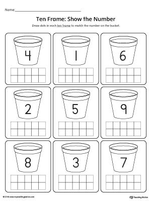 ten frame show the number worksheet. Black Bedroom Furniture Sets. Home Design Ideas